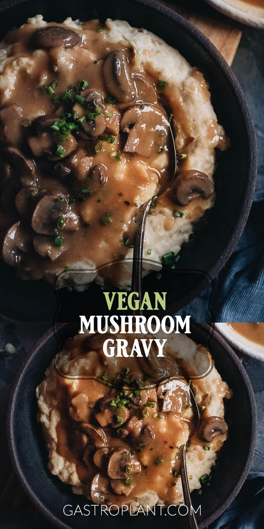 Collage of easy vegan mushroom gravy