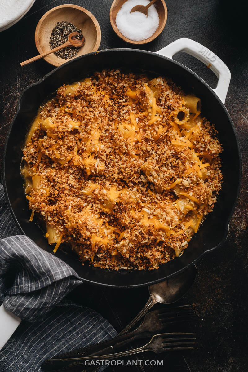 A freshly baked pan of vegan mac and cheese