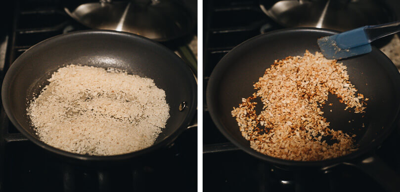 Two pictures showing how to toast breadcrumbs in a skillet