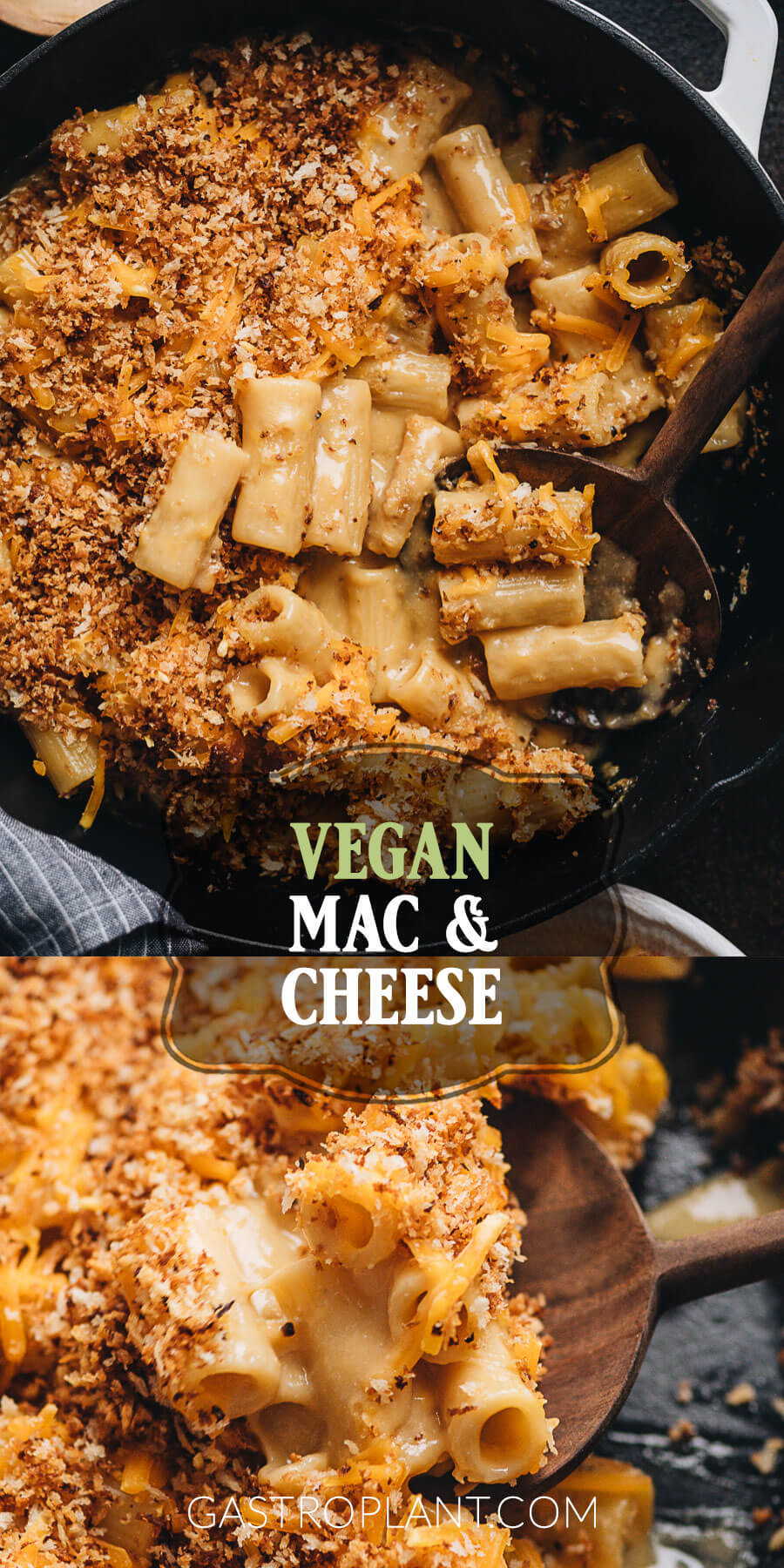 Cheesy baked vegan mac and cheese in a cast-iron skillet