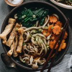 Square photo of vegan udon noodle soup
