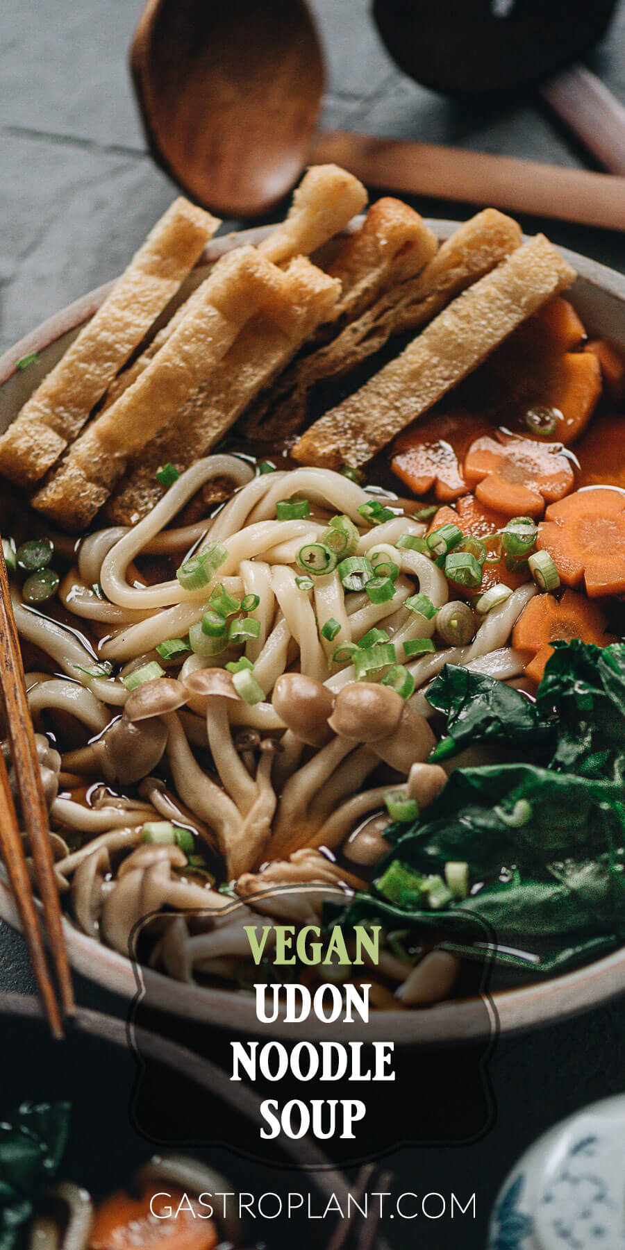 Collage for umami vegan udon noodle soup