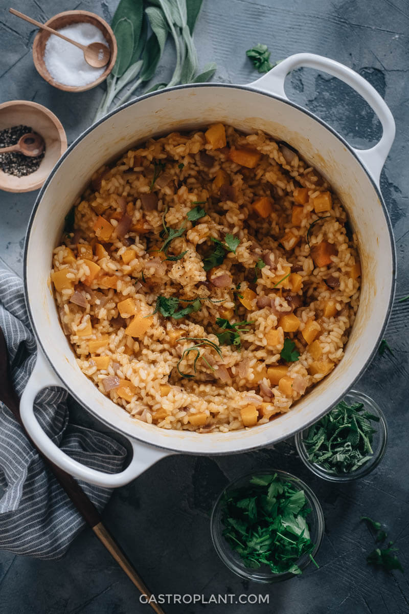 A pot of hot vegan butternut squash risotto
