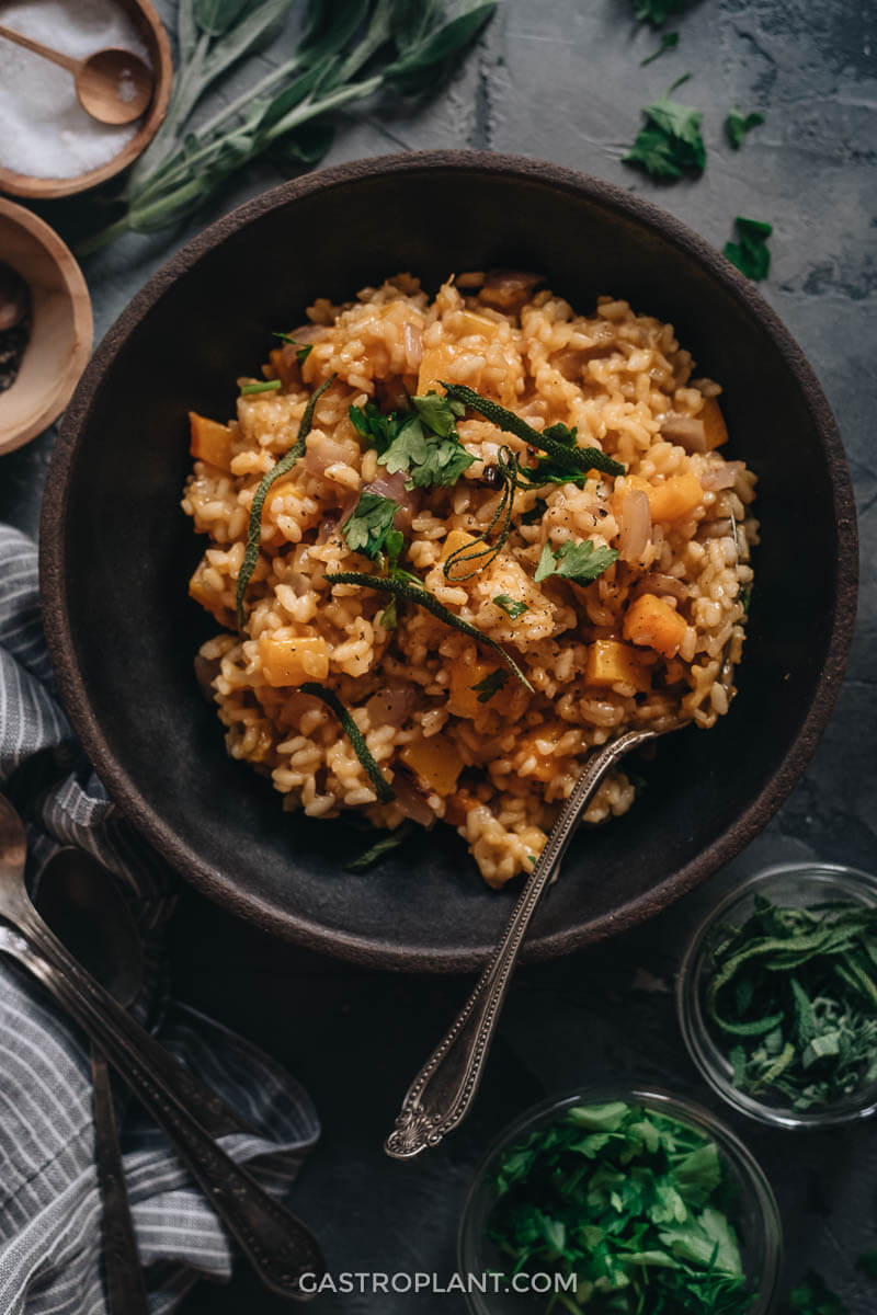 A bowl of comforting vegan butternut squash risotto