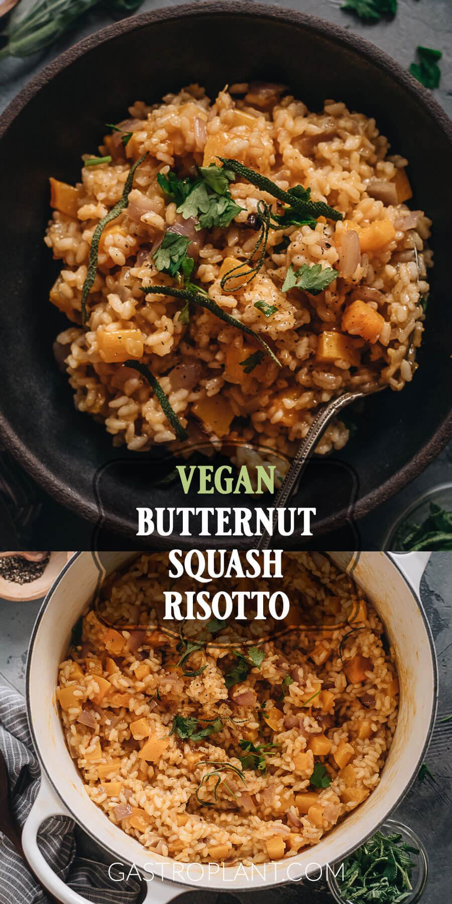 Winter vegan butternut squash risotto with sage and nutmeg