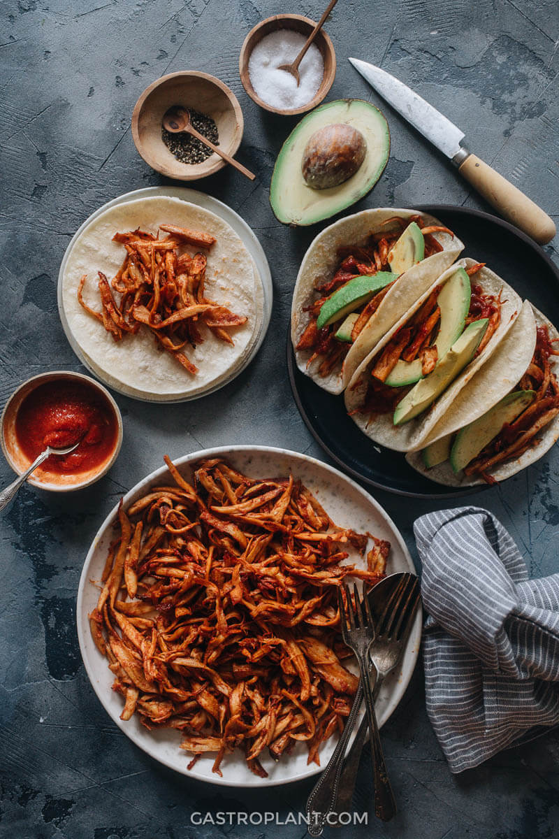 BBQ mushroom tacos with avocado