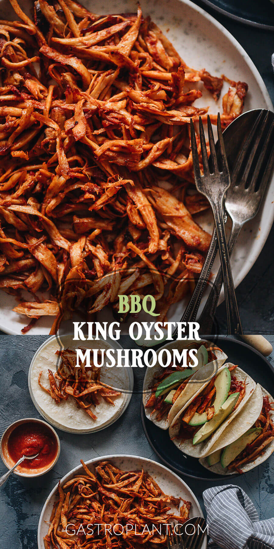 Smoky spicy pulled BBQ king oyster mushrooms