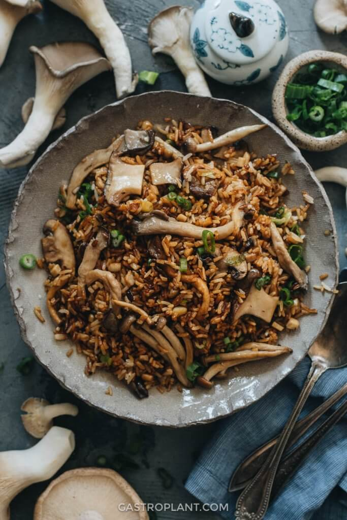 Fried rice loaded with shiitake, oyster, and other mushrooms