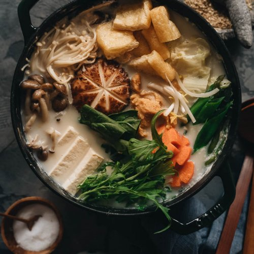 Vegan soy milk hot pot (tonyu nabe) bubbling in a pot