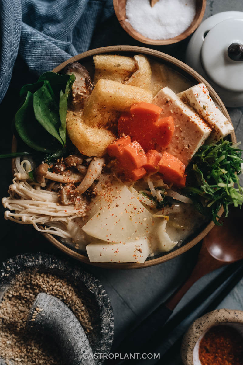 Creamy and nourishing tonyu nabe (vegan soy milk hot pot) with tofu and mushrooms