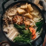 Square photo of vegan soy milk hot pot (tonyu nabe)