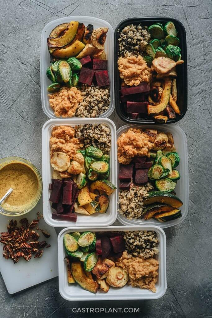 Winter Buddha Bowl Meal Prep with Brussels, Kabocha, and Sauce