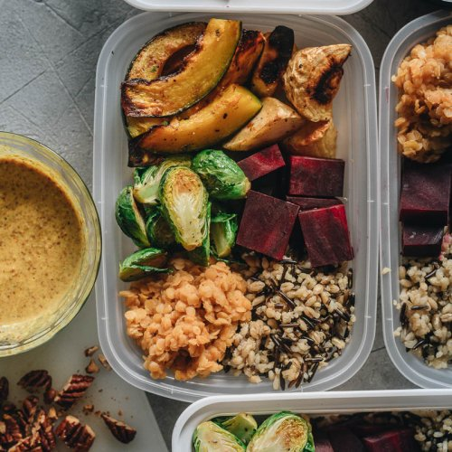 Roasted winter veggies in meal prep containers