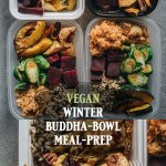Easy Healthy Vegan Winter Buddha Bowl Meal Prep with Roasted Veggies