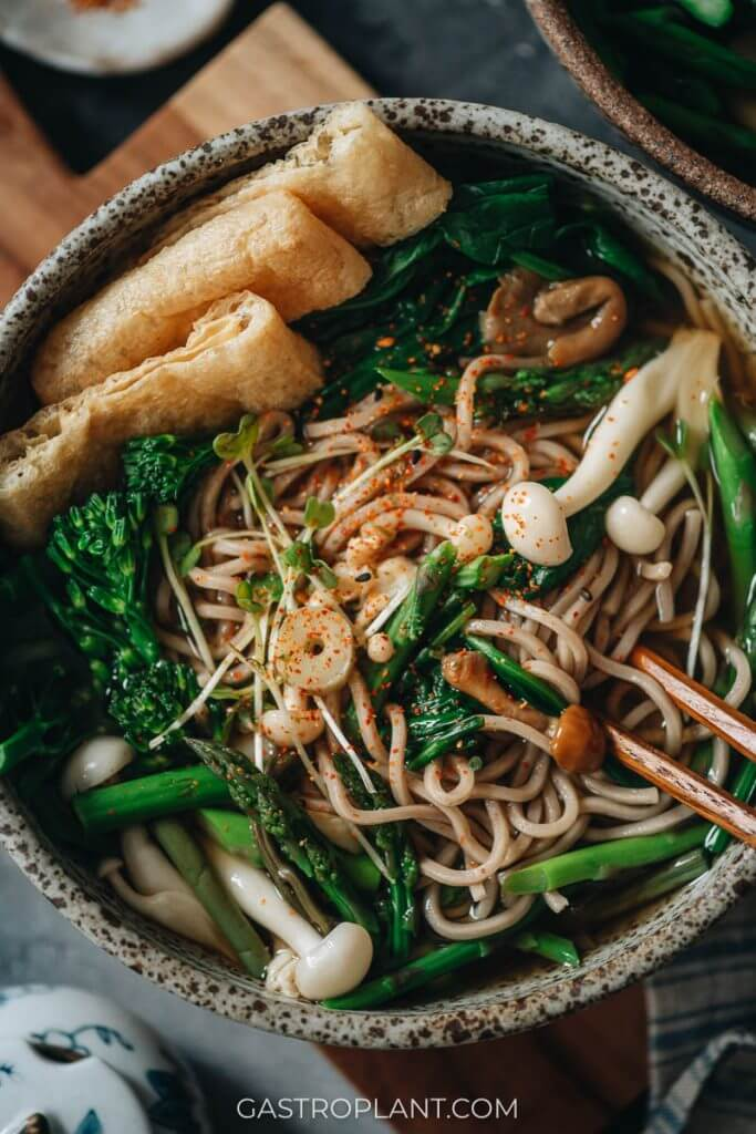 Close-up photo of vegan Japanese soba noodle soup