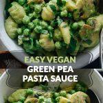 Vegan green pea pasta sauce on gnocchi with mushrooms