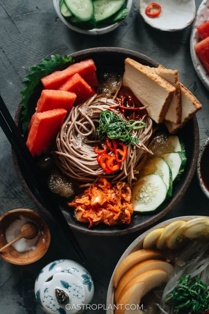 Plant-based mul naengmyeon Korean chilled noodles with watermelon and tofu